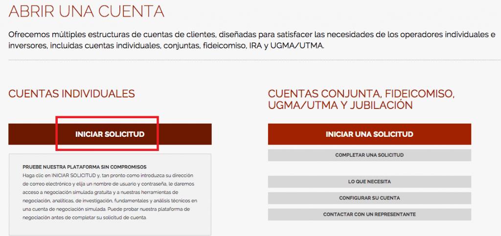 Apertura de cuenta en Interactive Brokers: iniciar solicitud