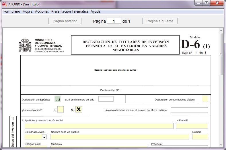 Formulario para cumplimentar el modelo D6 de inversión española en valores negociables en el extranjero