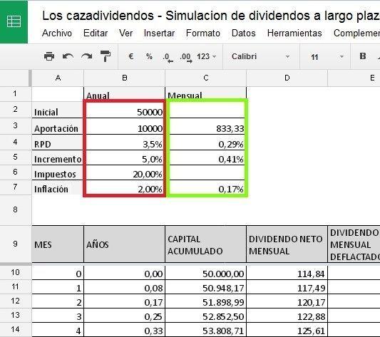 Cómo modificar los parámetros de la calculadora para hacer la simulación