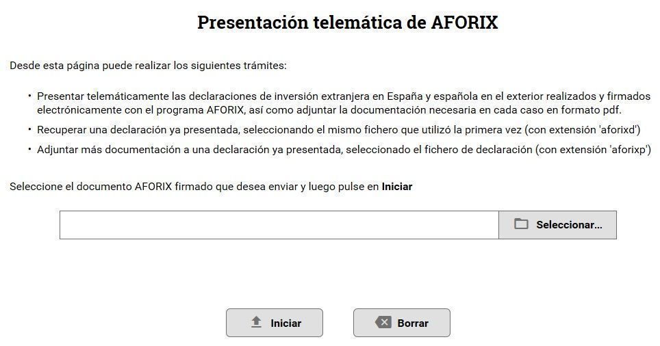 Presentación web del modelo D6 de inversión española en valores negociables depositados en el extranjero