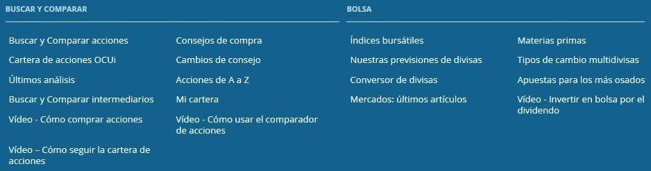 Secciónd de acciones de OCU Inversiones