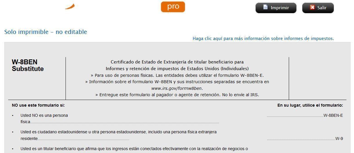 Cumplimentación del formulario W 8BEN en ActivoTrade PRO