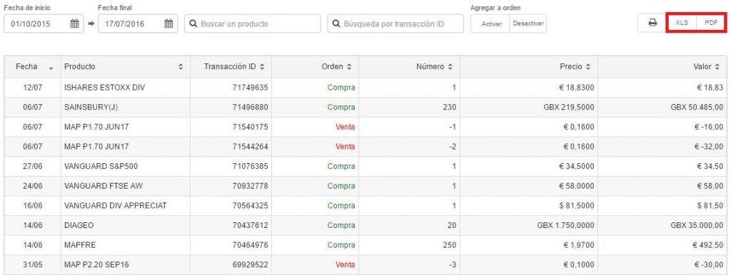 Pestaña de transacciones en la plataforma de DeGiro