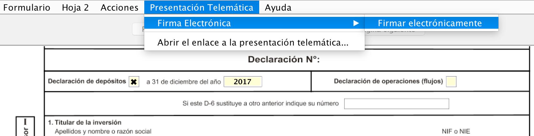 Inicio de la presentación telemática del modelo D-6