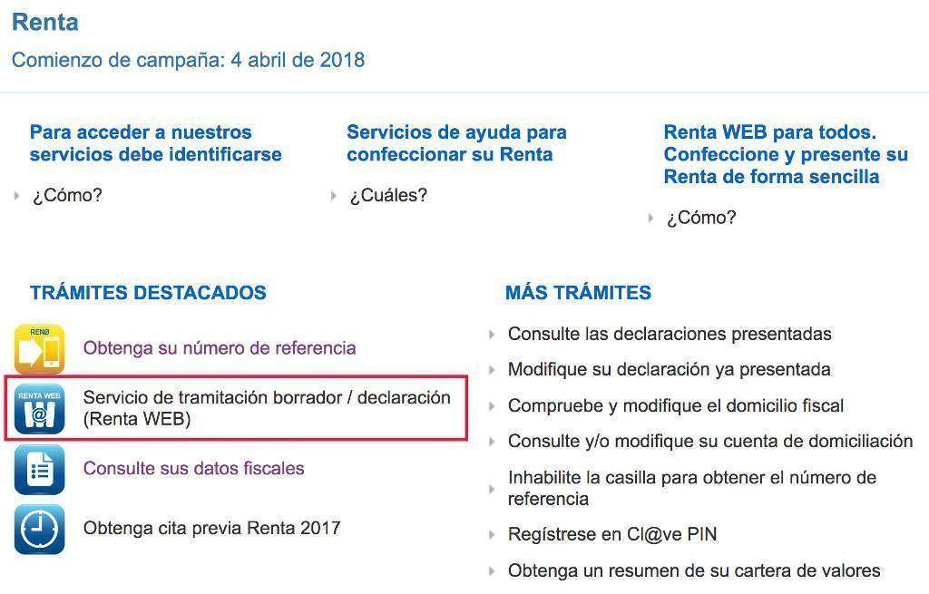 Acceso al borrador y al programa de ayuda Renta Web de la Agencia Tributaria