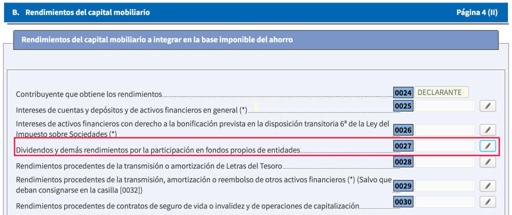 Información de los dividendos en la declaración de renta