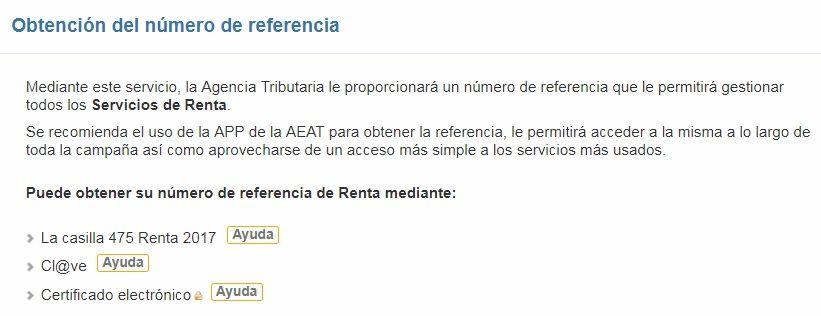 Obtención de la referencia del expediente para la declaración de renta