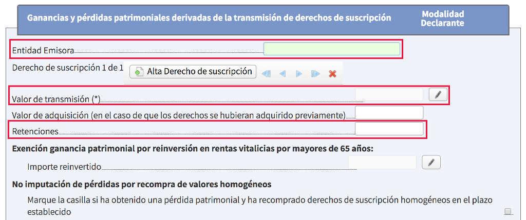 Venta de derechos de suscripción en la declaración de renta