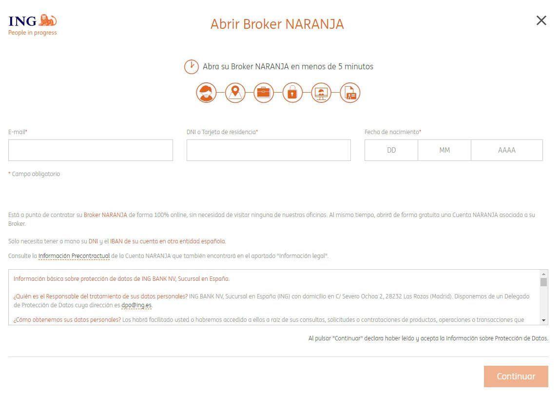Alta de cliente en el Broker Naranja de ING