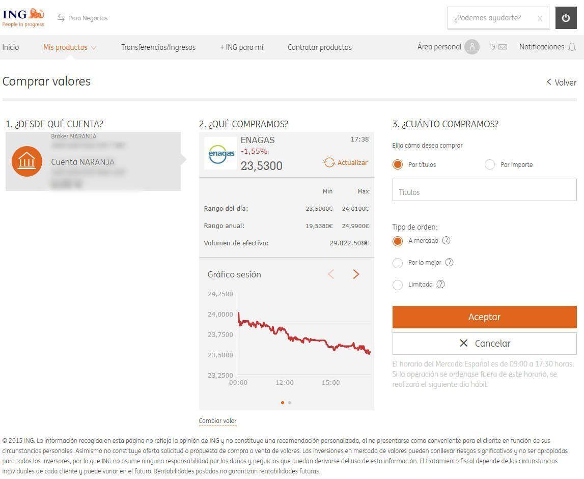 Orden de compra en la plataforma web del Broker Naranja de ING