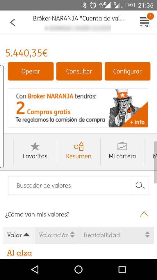 Plataforma móvil del Broker Naranja de ING