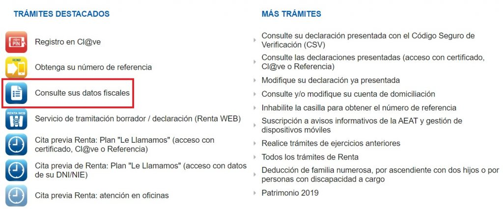 Menú principal con las opciones de la campaña de renta de 2019