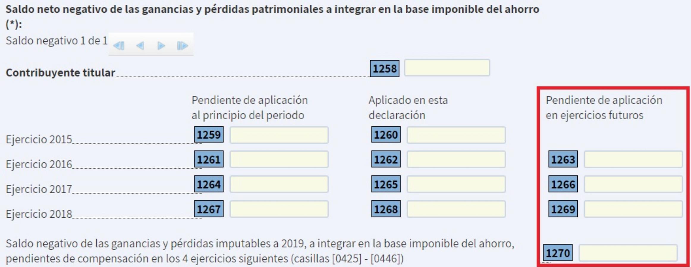 Declaración de renta de 2020 - Minusvalías pendientes de compensar de años anteriores a 2020